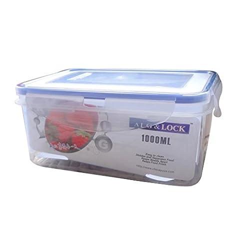 Ensemble de récipient de stockage de nourriture, 1000ml Blue Food Box rectangulaire avec couvercle clippé, micro-ondes, congélateur et lave-vaisselle