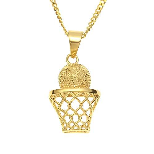 Hiphop Halskette mit Basketballanhänger in Form eines Basketballs, Edelstahl, vakuumbeschichtet, Schmuck, Geschenk, Farbe, nodiamond.