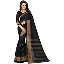 Shreeji Ethnic Women'S Bhagalpuri Silk Saree With Blouse Piece(butta Bhagalpuri_Black)