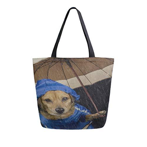 Regenschirm Hund Welpe Tier Tragbare Große Doppelseitige Casual Canvas Tragetaschen Handtasche Schulter Wiederverwendbare Einkaufstaschen Reisetasche Für Frauen Männer Lebensmittelgeschäft Reise - Tragetaschen Winter Stiefel