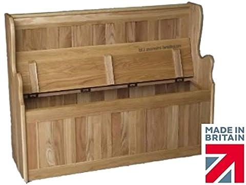 100% Solid Oak Monks Bench, Settle, Pew, Handcrafted 4ft Wide