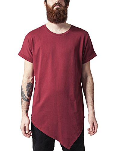Urban Classics Asymetric Long Tee, T-Shirt Uomo, Rot (Burgundy 606), Medium