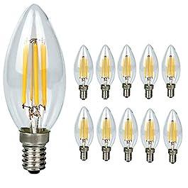 10-pezzi-Lampadina Filamento LED Candela – Casquillo E14 – Potenza 4W (sostituisce 40 W) – Luce Bianca Calda (2700K) – 400 lm – Angolazione fascio luce 300°