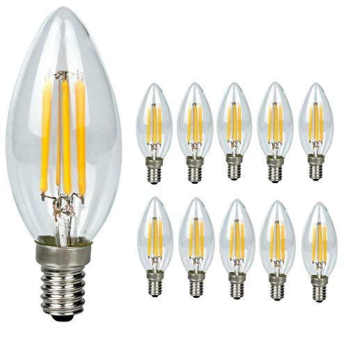Paquet de 10 ampoules à filament LED E14 Chandelle 4 W, Blanc chaud 2700 K Chandelier E14 SES Ampoule, 360 ° Angle de faisceau, variateur d'intensité, 450LM, ampoule LED, Bougie Petit culot à vis,