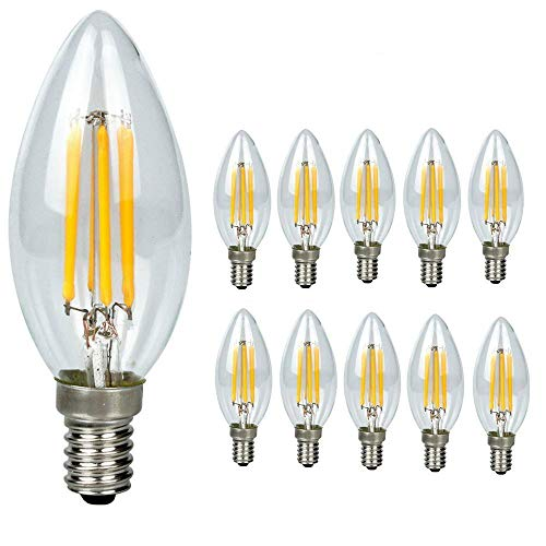 10-pezzi-lampadina filamento led candela - casquillo e14 - potenza 4w (sostituisce 40 w) - luce bianca calda (2700k) - 400 lm - angolazione fascio luce 300°