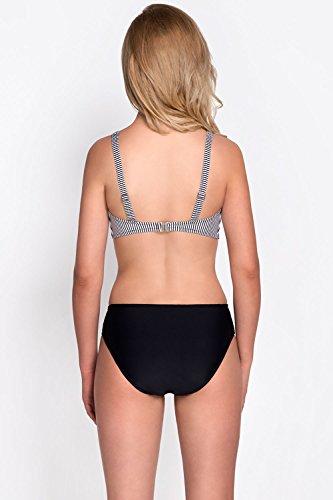 Vivisence 3203 Bikini BH Dame Bademode Soft Sups gestreift gemustert regulierbar EU Weiß-Schwarz