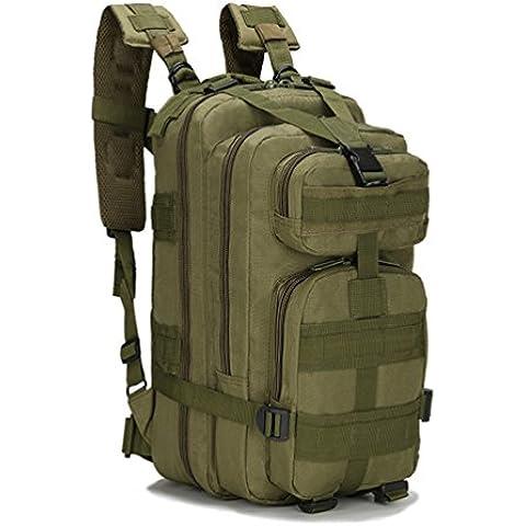HMILYDYK Sport Outdoor Oxford Militare Tattico MOLLE Zaino da Campeggio Trekking 25L (Esercito Verde) - Oversize Gear Bag