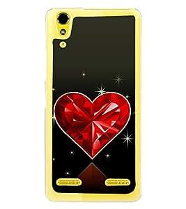 Beautiful Shining Red Heart 2D Hard Polycarbonate Designer Back Case Cover for Lenovo A6000 Plus :: Lenovo A6000+ :: Lenovo A6000