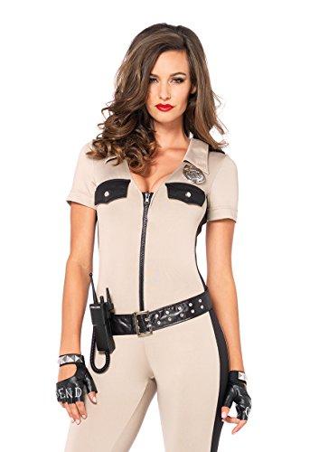 Sexy Kostüm Handschuhe Polizistin - LEG AVENUE 85192 - Deputy Patdown Kostüm Set, 4-teilig, Größe S, tan