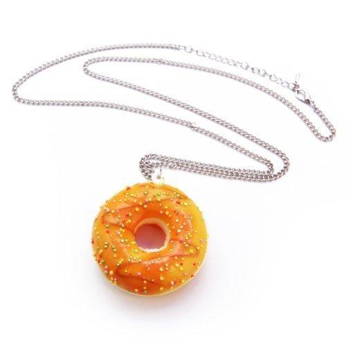 Donut mit Zuckerguss Glasur Halskette - ca. 70cm lange Kette - Doughnut Anhänger Orange Bunt Liebesperlen Backen American