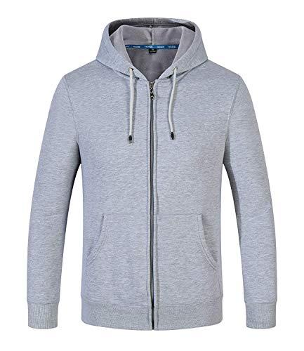 SELENECHEN Herren Sweatjacke Kapuzenpullover Sweatshirt Zip-Hoodie Herren Pullover Plus Samt Hoodie Sweat Hoody Sweatshirt Mit Reißverschluss,Grau,XL