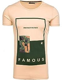 BOLF Herren T-Shirt Tee Kurzarm Slim Fit Classic Rundhals Aufdruck 3C3 Motiv