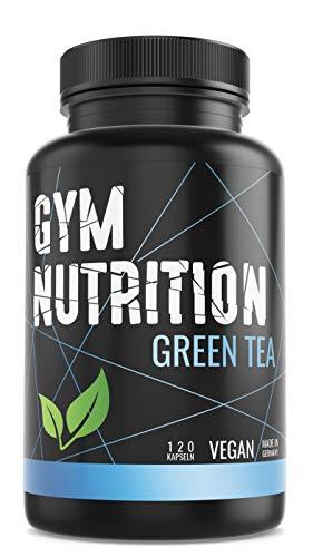 GYM-NUTRITION® — GREEN-TEA Grüntee-Extrakt – Hochdosiert, vegan – Grüner Tee, beliebt in Definitions-Phase & Diät – 2 Monats-Vorrat – 120 Grüntee-Kapseln – Made in Germany