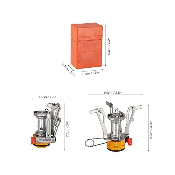 TOMSHOO Camping Stove/Backpacking Stove and windshield Backpacking Stove for Outdoor Hiking Picnic BBQ 6