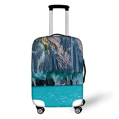 Travel Luggage Cover Suitcase Protector,Turquoise,Marble Caves of Lake General Carrera Chile South American Natural,Turquoise Purplegrey Green,for Travel,M