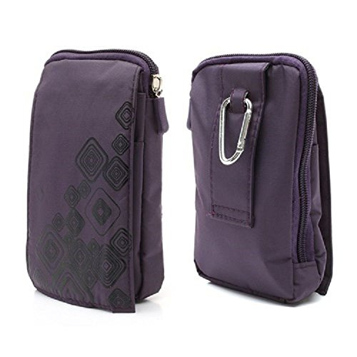 DFV mobile - Multi-functional Universal Vertical Stripes Pouch Bag Case Zipper Closing Carabiner for =>      APPLE IPHONE X [2017] > BLUE (16 x 9.5 cm) PURPLE (16 x 9.5 cm)
