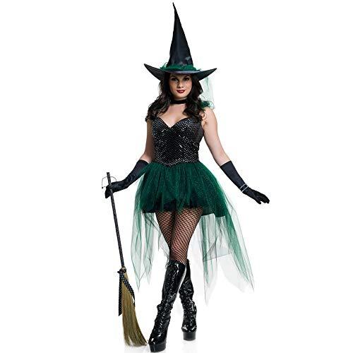 Yunfeng Hexenkostüm Damen Hexenkostüm Damen Halloween Cosplay Kostüm weibliche Hexe Kostüm Rolle Spielen Maskerade Party Kostüm -