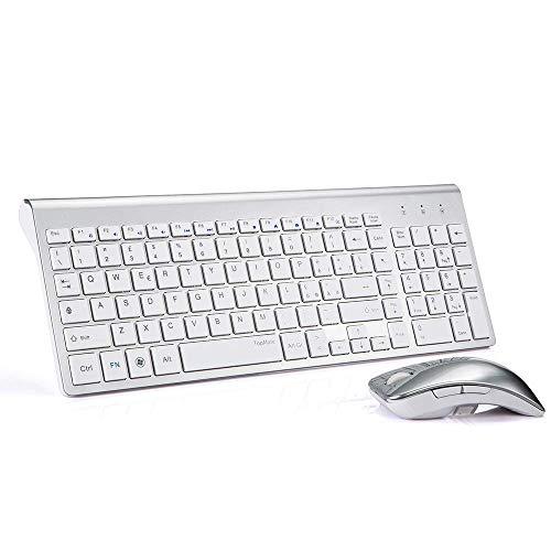 TopMate KM9001 Tastiere e Mouse Wireless, tranquilla slim Tastiera Combo [QWERTY Italiano] (Argento bianco)