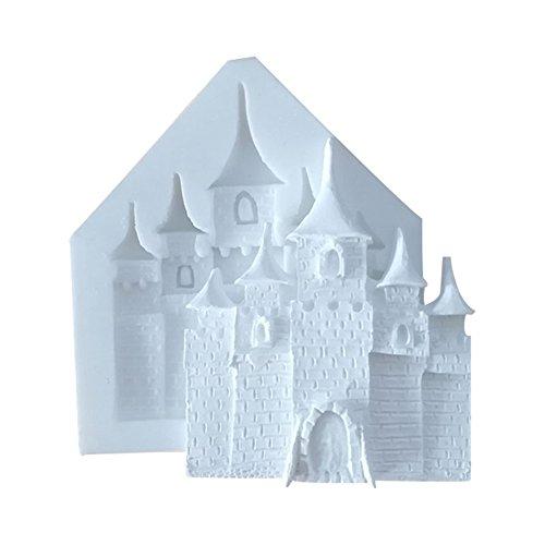 Hacoly Halloween Formen Fondant Schloss Silikon Kuchen Ausstechform Muffinform Cookie Mould Schokolade handgemachte Seife EIS Zucker Handwerk DIY Backblech 3D Bakeware Plätzchen Schimmel Tool - Weiss