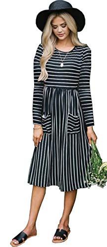 Alaix casual da donna con scollo tondo a righe manica lunga, vestito longuette con tasche nero-s