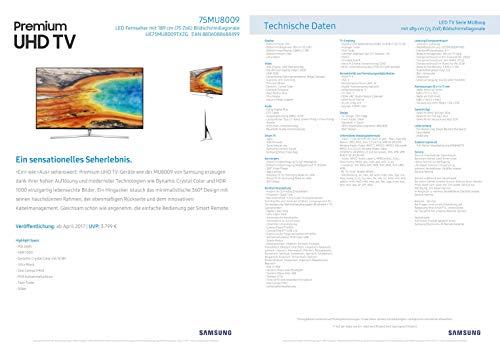 Samsung MU8009 189 cm (75 Zoll) Fernseher (Ultra HD, Twin Tuner, HDR 1000, Smart TV) [Energieklasse A] - 3