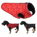 SymbolLife Wendemantel für Hunde Hundemantel Winter Hundejacke Wasserdicht Warm Jacke für Hunde Nylon Gesteppt Rot/Schwarz (M)