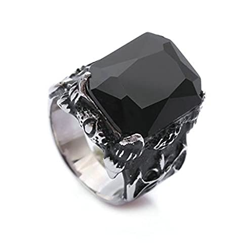 Bishilin Stainless Steel Retro Black Cubic Zirconia Dragon Claw Fleur De Lis Rings Size P 1/2