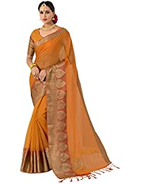 Pisara Women's Banarasi Cotton Silk Saree With Blouse Piece,Yellow