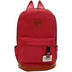 Tongshi hombres mujeres jóvenes Campus Girls viaje Mochila los bolsos de escuela Bolsas de deporte (Rojo de la sandía)