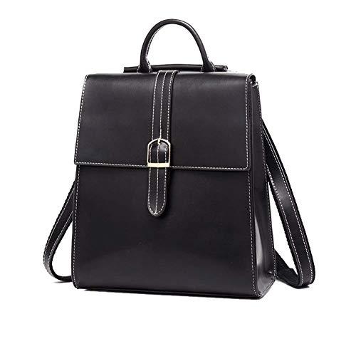 Frauen doppelte echte Tasche, Mode Leder Handtasche aus weichem Leder College Wind Sicherheit Umhängetasche Handtasche Umhängetasche Messenger Bag schwarz-black