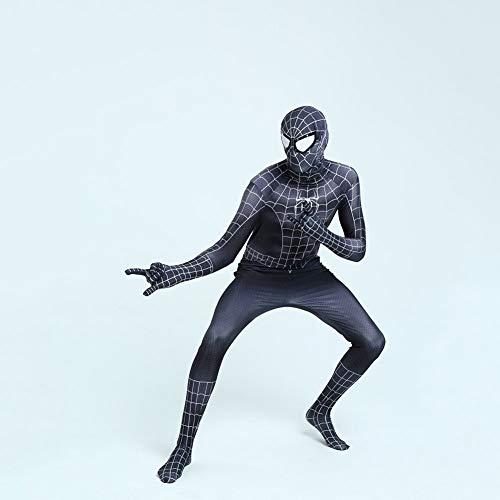 SEJNGF Spiderman Siamesische Strumpfhose Anime Play Kostüm Halloween Erwachsene Kinder Rolle Performance Kostüm (Kopfbedeckungen Können Getrennt - Kid's Captain Black Piraten Kostüm