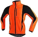 Veste d'hiver De Vélo Coupe-Vent, Vestes d'hommes De Cyclisme pour Hommes VTT Veste De Vélo De Montagne Visible Réfléchissante Veste Chaude (XL,Orange)