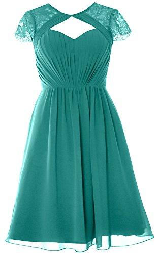 MACloth Elegant Cap Sleeves Short Bridesmaid Dress Wedding Party Formal Gown Oasis