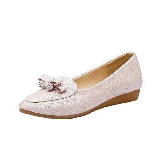 AgooLar Damen Ziehen auf Niedriger Absatz PU Rein Rund Zehe Pumps Schuhe, Pink, 35