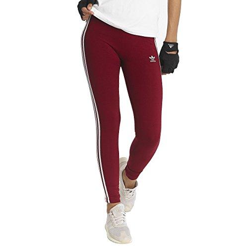 adidas Damen 3 Streifen Leggings 3 Streifen, Rot (Cburgu), 38 (Herstellergröße: 12) (Bund Streifen-elastischer)