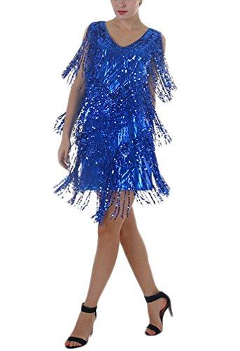 BOLAWOO Damen Abendkleider Mit Pailletten Cocktail Partykleider Cocktailkleid Quaste Glitzer Kurz V-Ausschnitt Ärmellos Hipster One Size