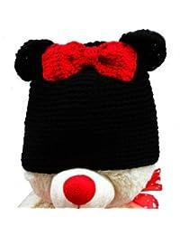 """LadyMYP©Handgemachte Strickmütze, Babymütze, Kindermütze, Hüte, 100% Wolle, Mütze """"Maus"""" mit roter Schleife"""