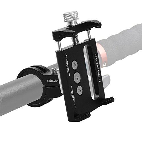 """ASIV Soporte Movil para Bicicleta, Moto, Bici, MTB y GPS, Aleación de aluminio, Firme y Ligero 360°Rotación para telefono de 3.5"""" hasta 6.2"""", Diámetro 23.5mm-40mm para manillar, Negro"""