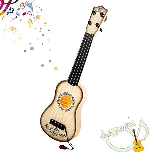 Shayson 4 Stringhe Musica Chitarra elettrica, Ukulele Giocattolo Chitarra per Bambini, Giocattolo educativo per Lo Sviluppo dello Strumento (Strisce di Legno Bianco)