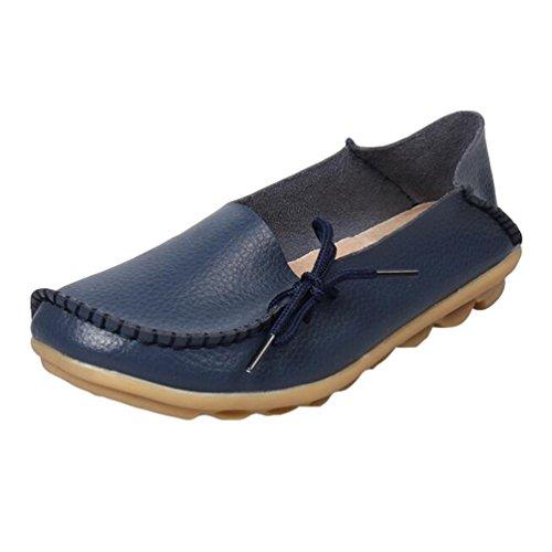 Heheja Damen Freizeit Flache Schuhe Low-Top Mokassin Loafers Erbsenschuhe Dunkel Blau Asia 39 (24.5cm)
