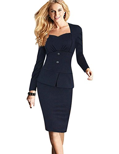 babyonline-illusion-two-piece-solid-long-sleeve-party-evening-pencil-dress