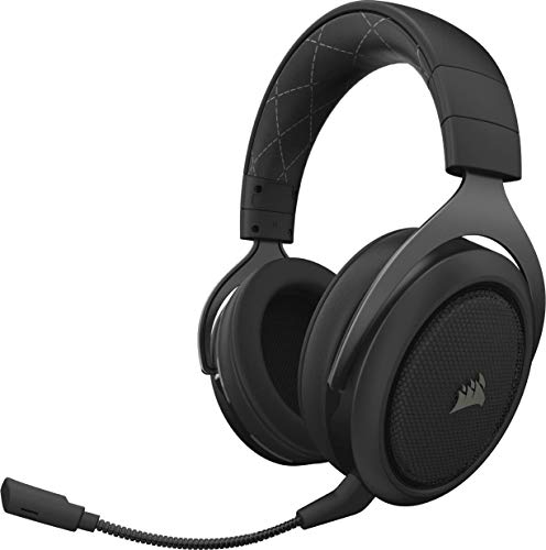 Corsair HS70 Kabelloses Gaming Headset (7.1 Surround Sound, mit abnehmbaren Mikrofon, für PC/PS4) schwarz