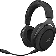 Corsair HS70 Wireless Cuffie Gaming 7.1 Surround Sound, con Microfono Staccabile, per PC/PS4, Carbonio
