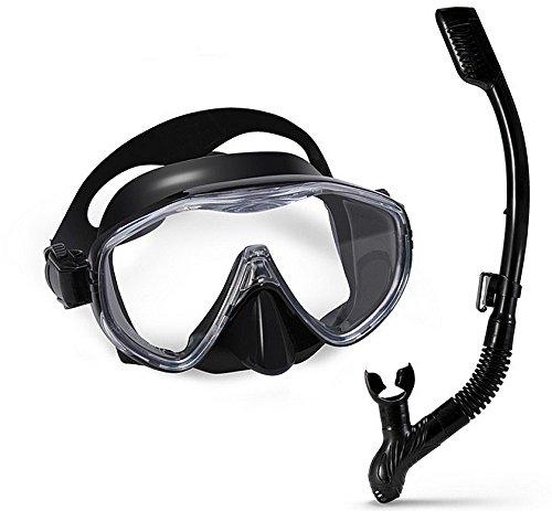 Máscara de buceo, Gafas de buceo para hombres con máscara de buceo snorkel Gafas de snorkel Set resistente a los golpes de vidrio templado seco Top impermeable a prueba de fugas y antiniebla Lente Scu