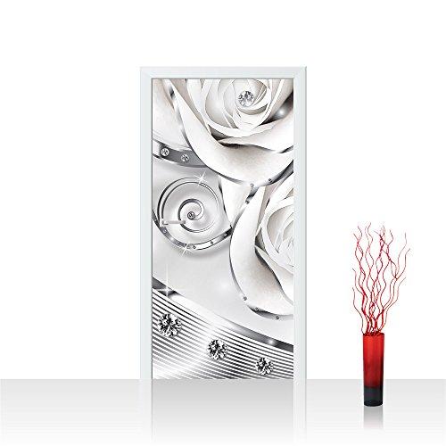 Türtapete selbstklebend 91x211 cm PREMIUM PLUS Tür Fototapete Türposter Türpanel Foto Tapete Bild - Abstrakt Diamant Rose - no. 810 810 Rosen