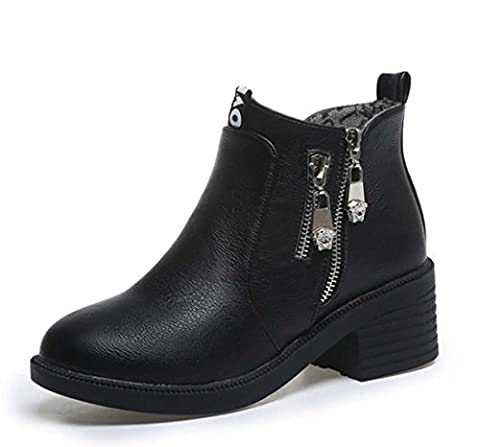 Martin Boot Women Round Toe Chunky Heel Short Boot Classic Low Heel Comfortable Leather Ankle Boot ( Color : Black , Size : 36 )