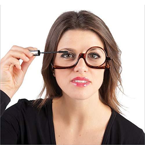 EYEphy Damen rotierende Make-up Brille optische Lesebrille schwarzer Rahmen Flip +1.0 + 1.5 +2.0 +2.5 +3.0 +3.5,Black,+100