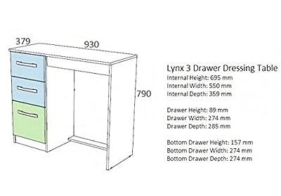 Birlea Lynx 3 Drawer Dressing Table-PARENT