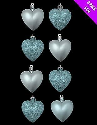 Ice Blue Heart Shaped Christmas Baubles in Glitter + Matt 8 x 5cm