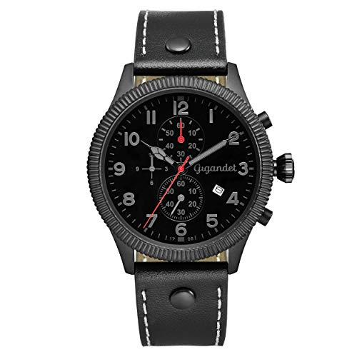 Gigandet Red Baron V Hombre Reloj de Pulsera Acero Inoxidable Negro Fecha G34–003